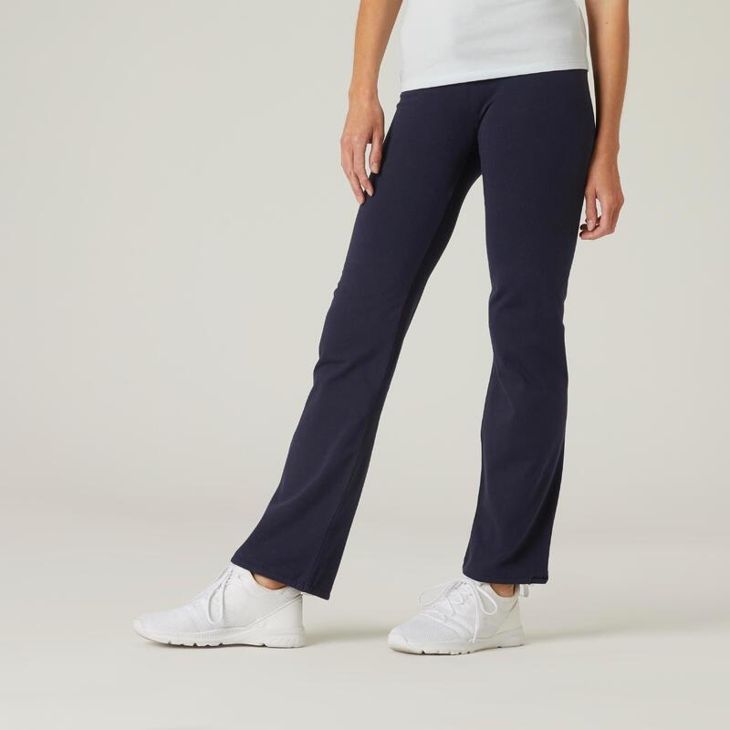 Legging Coton Fitness Fit+ Coupe droite et bas resserable Bleu Marine