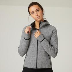 Sweatjacke Kapuze Fitness mit Reissverschlusstaschen grau