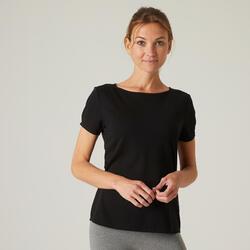 T-shirt de Ginástica em Algodão Extensível com Gola Ampla