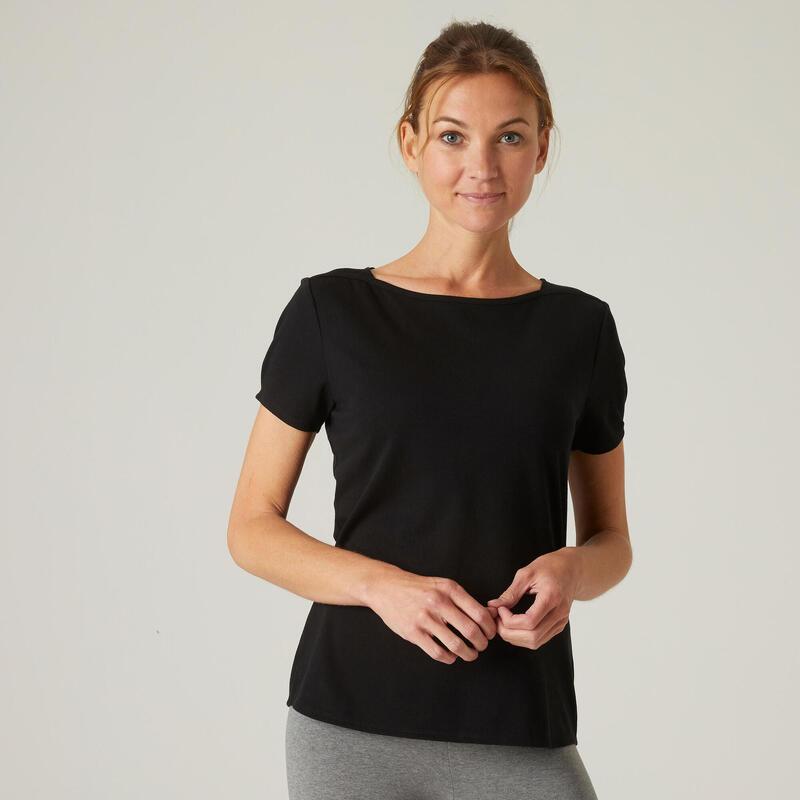 T-shirt fitness manches courtes slim coton extensible col bateau femme noir