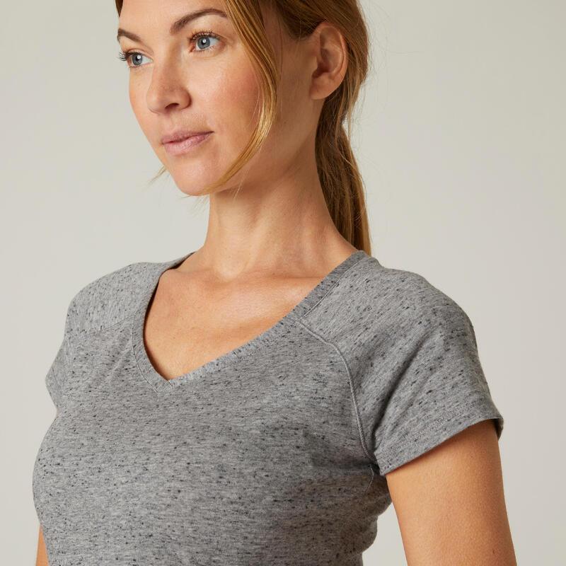 T-shirt fitness manches courtes slim coton extensible col en V femme gris