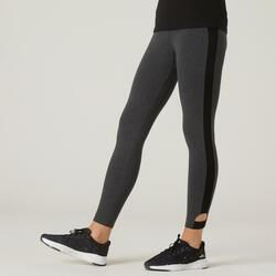 Stretch legging voor fitness katoen 7/8 grijs