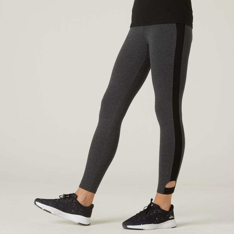 Leggings 7/8 algodón extensible Fitness cortos gris