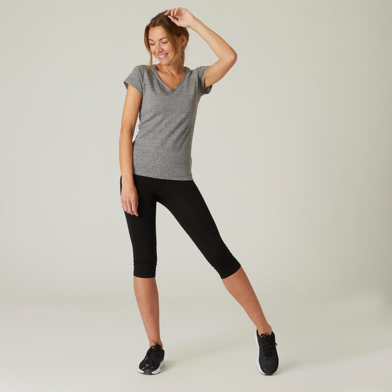 Camiseta Mujer Manga Corta Cuello Pico Algodón extensible Fitness Slim Gris