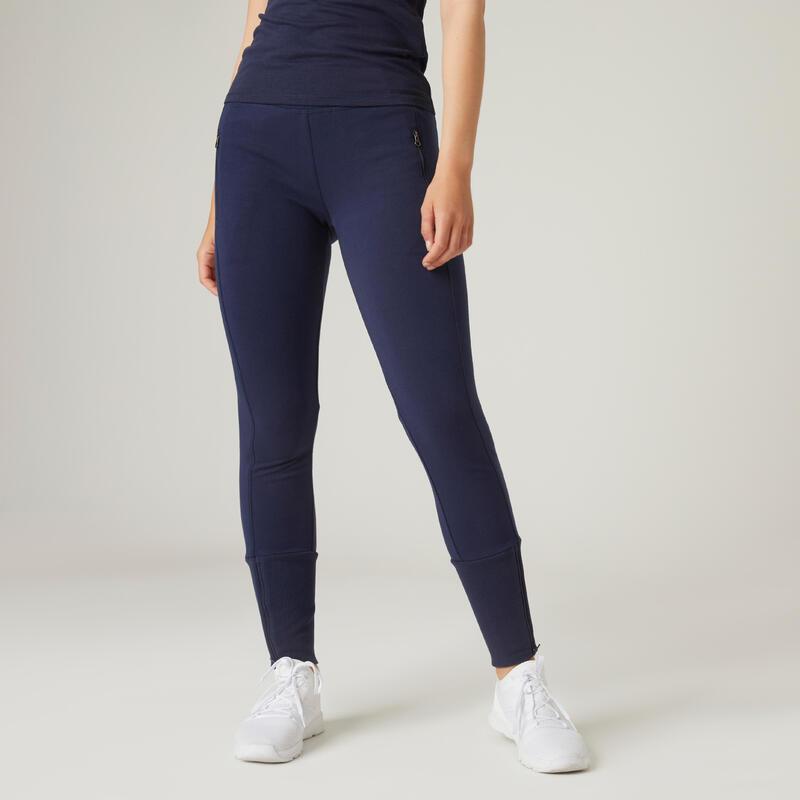 Pantalon jogging Fitness bas de jambe zippé Slim Bleu Marine