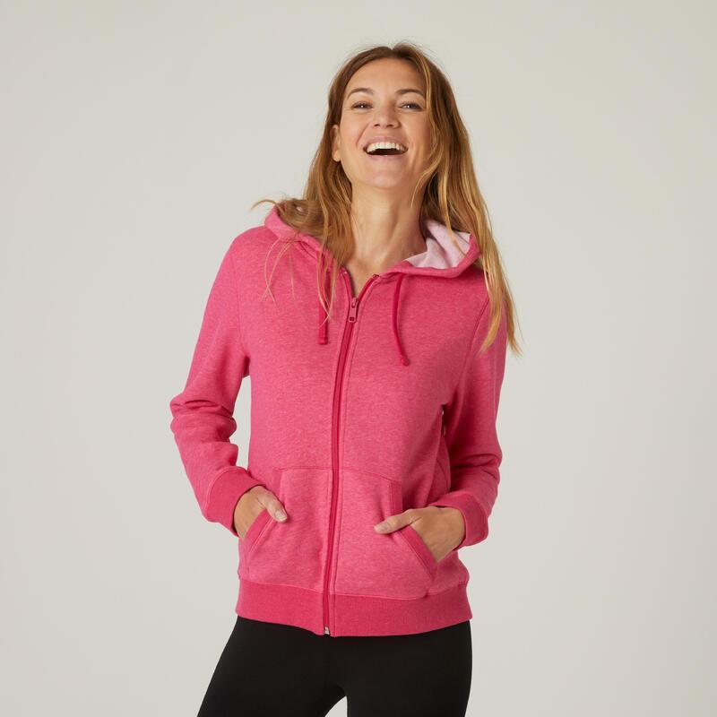 Sweat Zippé capuche chaud Fitness Rose