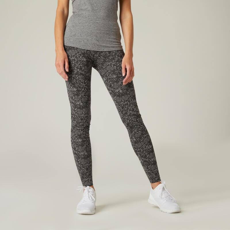 Legging fitness long coton extensible respirant femme - Fit+ gris