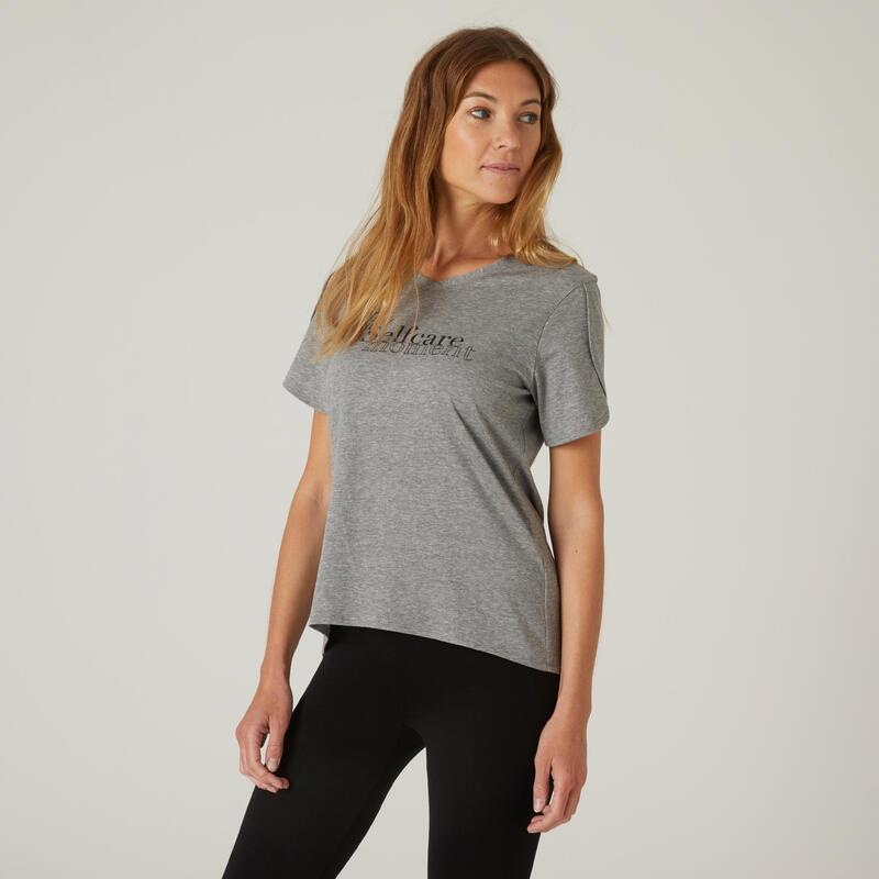T-shirt fitness manches courtes couvrant coton extensible col en V femme gris