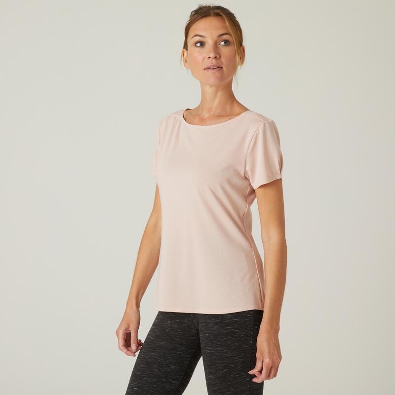 Camiseta Mujer Manga Corta Cuello Barco Algodón Extensible Fitness Rosa