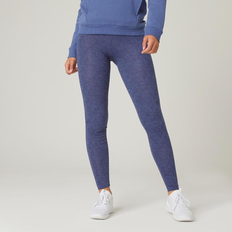 Legging fitness long coton extensible respirant femme - Fit+ bleu