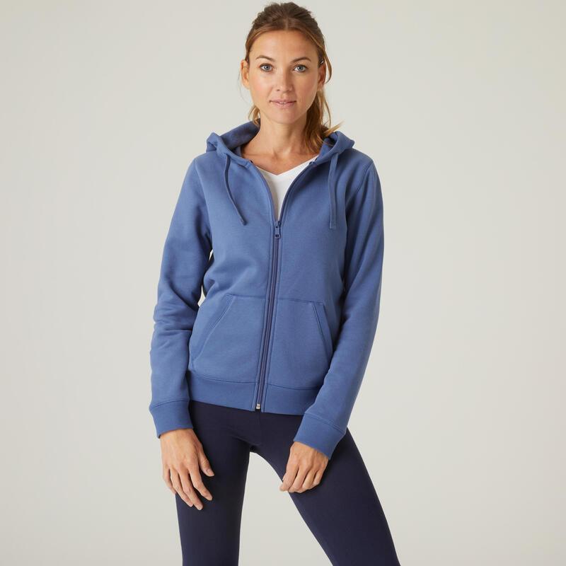 Sweat Zippé capuche chaud Fitness Bleu