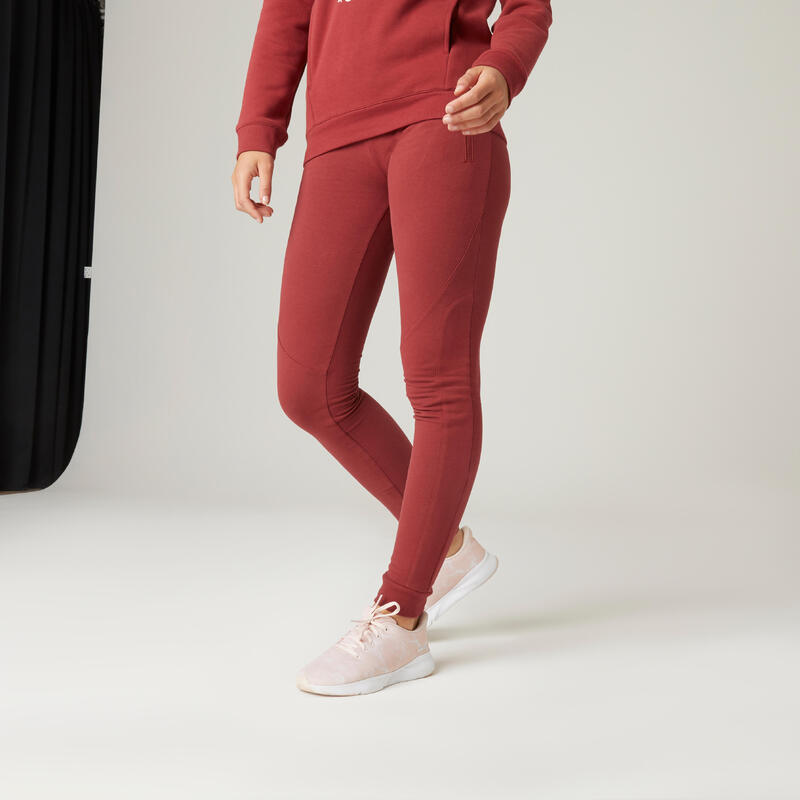 Warme joggingbroek voor fitness zakken met rits slim fit bordeaux