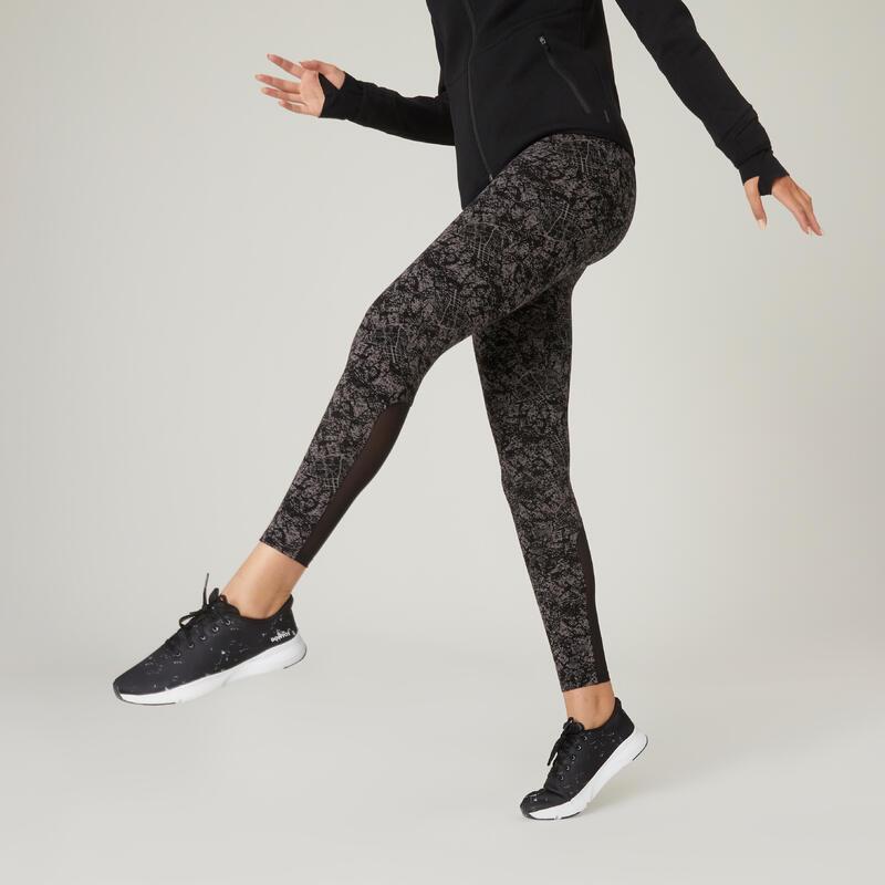 Legging fitness 7/8 coton extensible avec mesh femme - noir