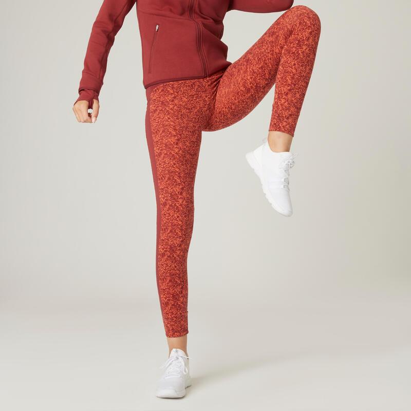 Legging Coton Extensible Fitness Taille Haute Rouge avec Imprimé