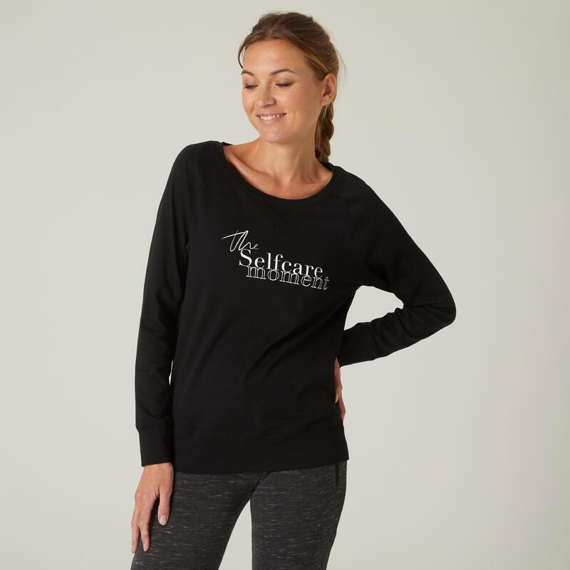 T-shirt fitness manches longues slim coton col rond femme noir avec imprimé