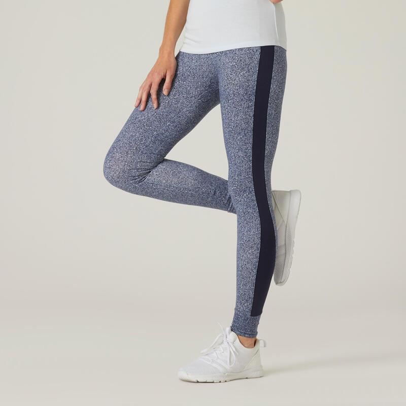 Legging fitness long coton extensible taille haute femme - bleu avec imprimé