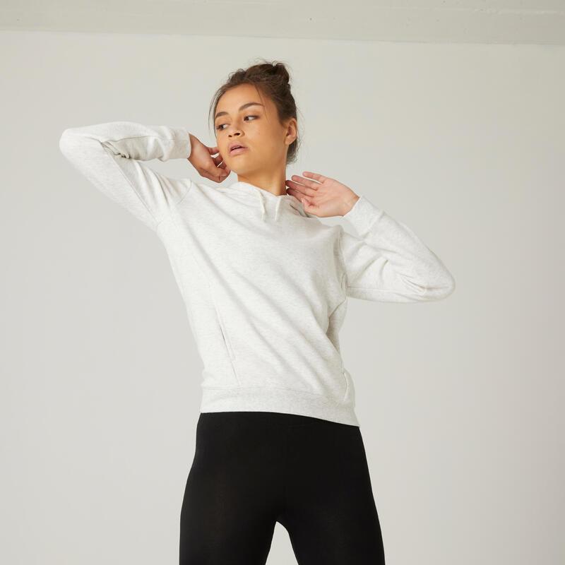 Sudadera con capucha fitness bolsillo canguro blanco