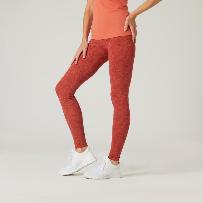 Legging fitness long coton extensible respirant femme - Fit+ rouge