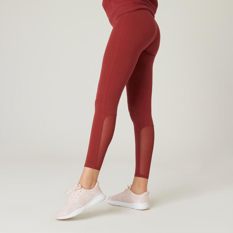 Legging fitness 7/8 coton extensible respirant et taille haute femme - bordeaux