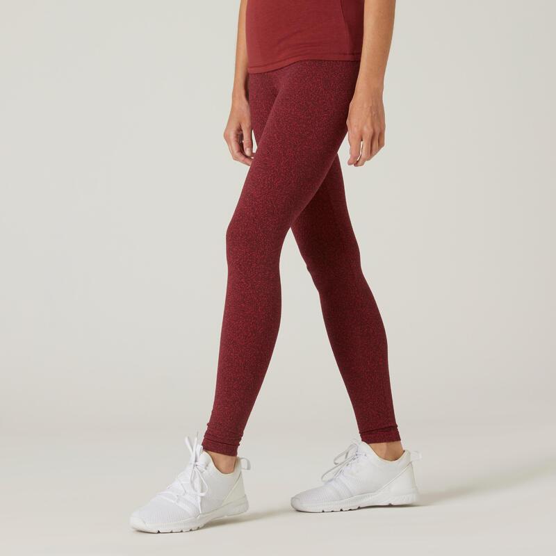 Legging fitness long coton extensible respirant femme - Fit+ bordeaux