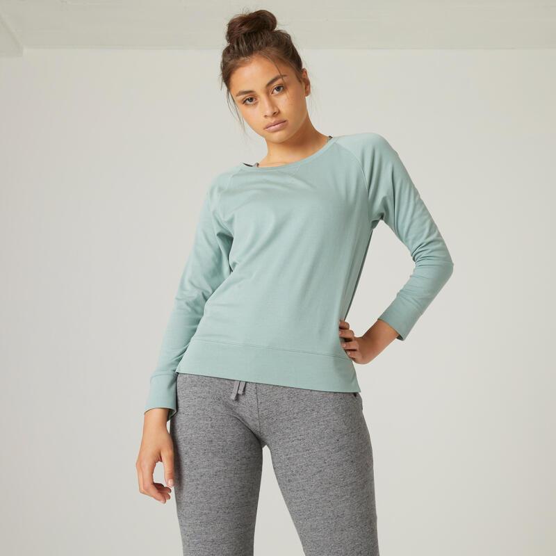 T-shirt fitness manches longues droit coton extensible col rond femme vert