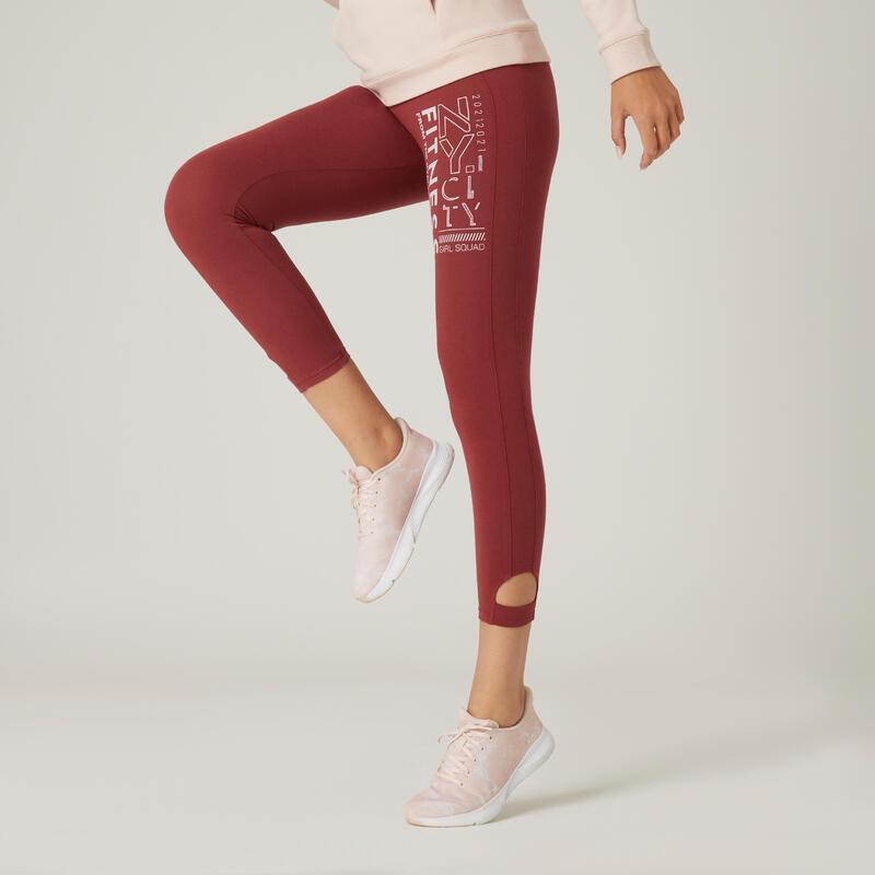 Legging fitness 7/8 coton extensible respirant femme - bordeaux rouge