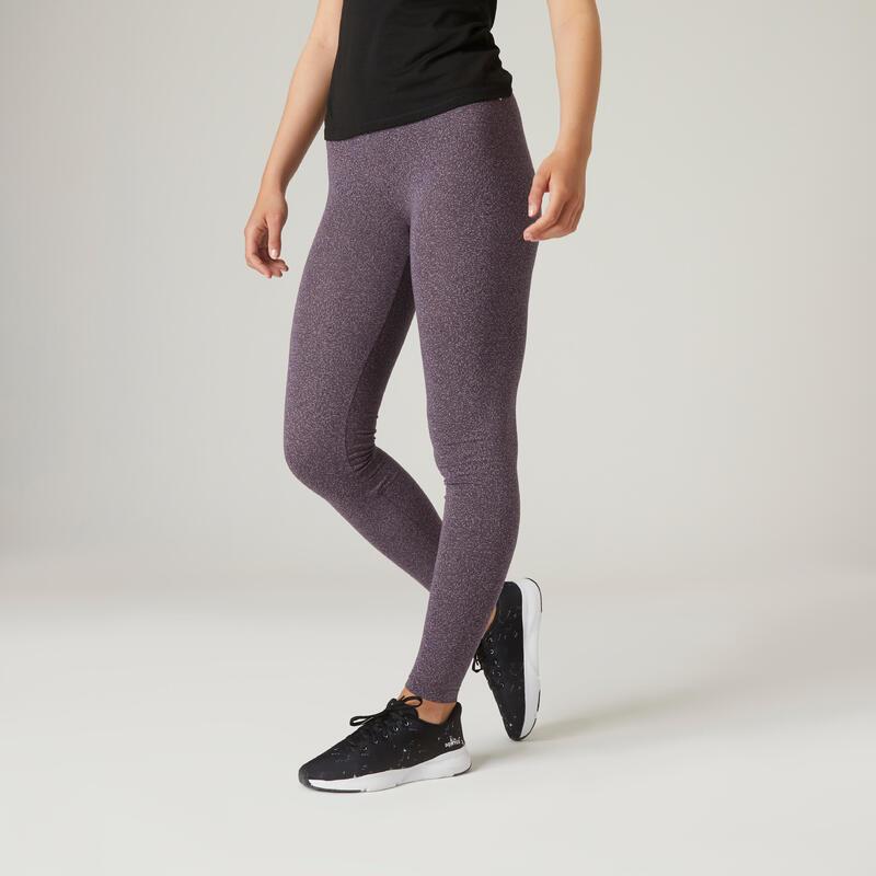 Legging fitness long coton extensible respirant femme - Fit+ gris violacé