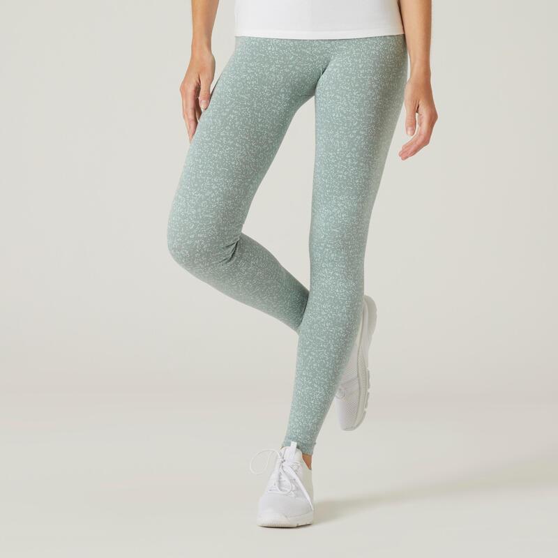 Legging fitness long coton extensible respirant femme - Fit+ vert