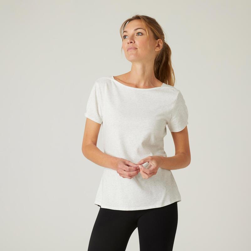 T-shirt fitness manches courtes slim coton extensible col bateau femme blanc