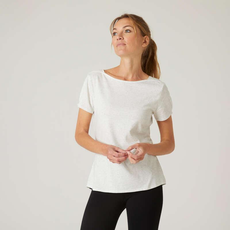KLÄDER FÖR GYMNASTIK, PILATES, DAM Fitness - T-tröja Regular 510 dam vit NYAMBA - Fitnesskläder för dam