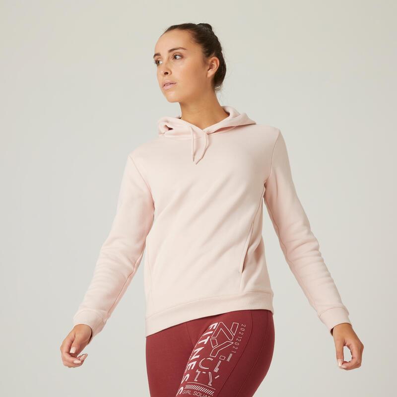 Sudadera con capucha fitness bolsillo canguro rosa
