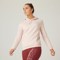Felpa con cappuccio donna fitness 500 rosa