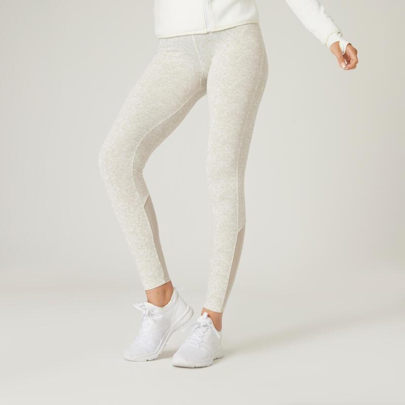 Legging fitness 7/8 coton extensible avec mesh femme - beige