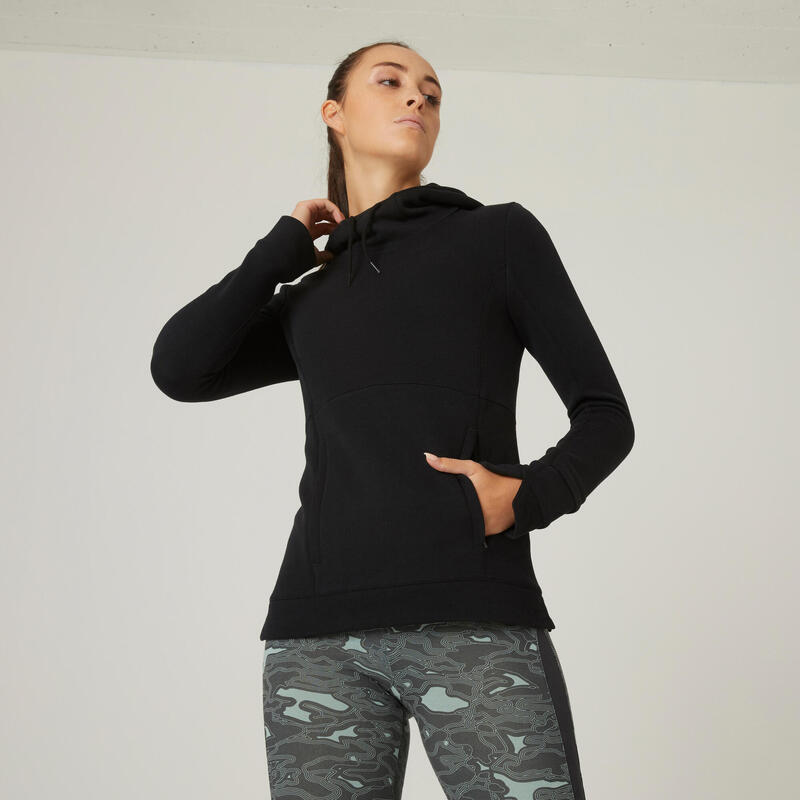 Sudadera deportiva mujer con capucha Domyos 520 negro