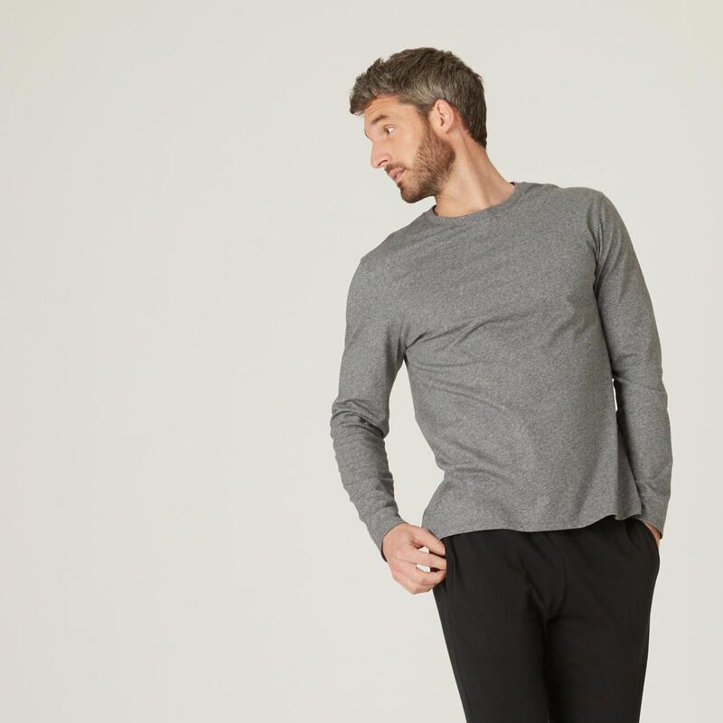 T-shirt fitness manches longues slim coton col rond homme gris