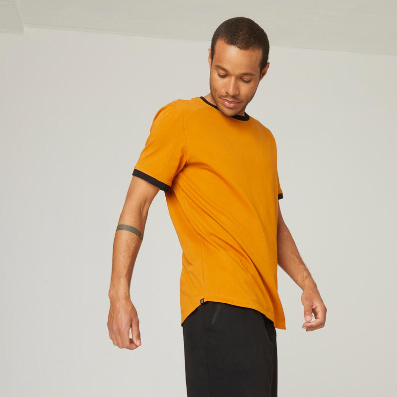 T-shirt fitness manches courtes slim coton extensible col rond homme ocre