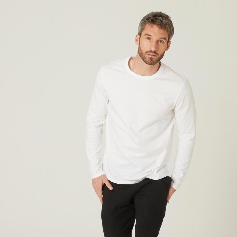 T-shirt fitness manches longues slim coton col rond homme blanc glacier