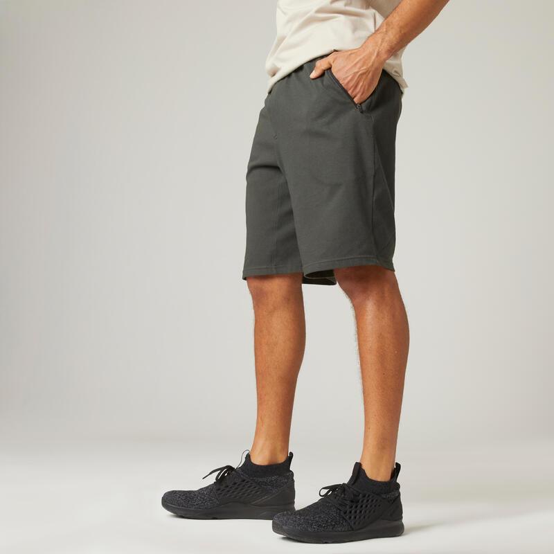 Short Coton Extensible Fitness Long avec poches zippées
