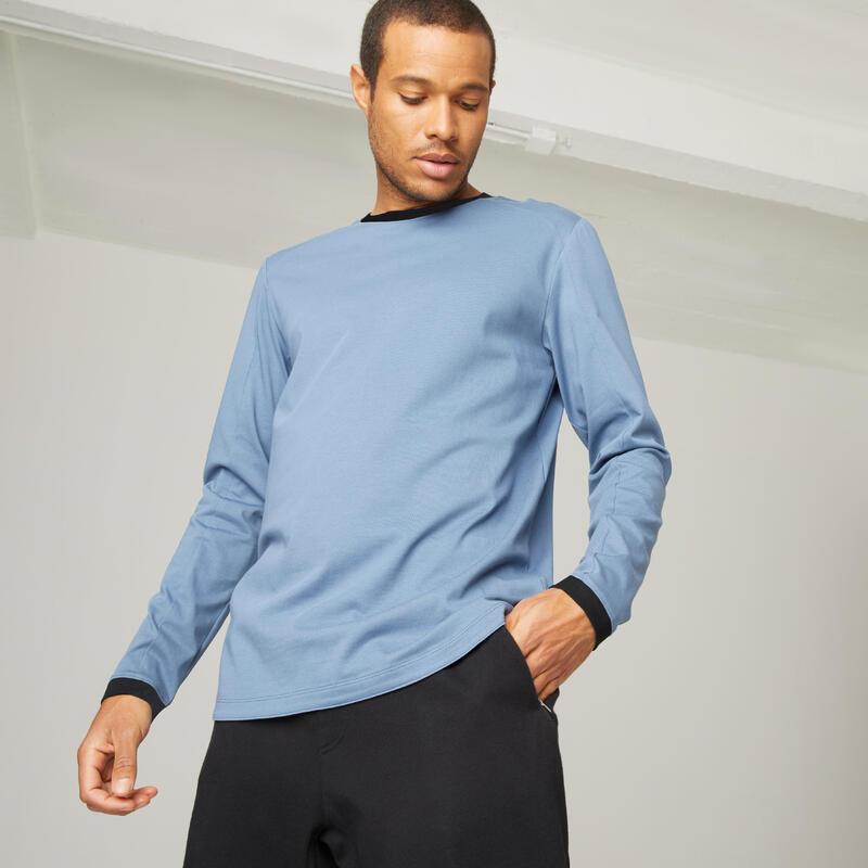Long-Sleeved Stretch Cotton T-Shirt - Blue