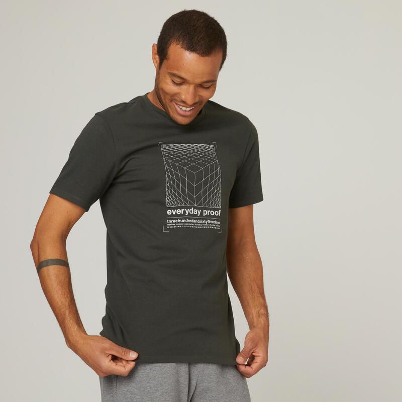T-shirt fitness manches courtes coton col rond homme vert foncé