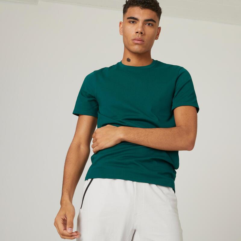 Tricou slim fitness 500 bumbac extensibil Verde Bărbați