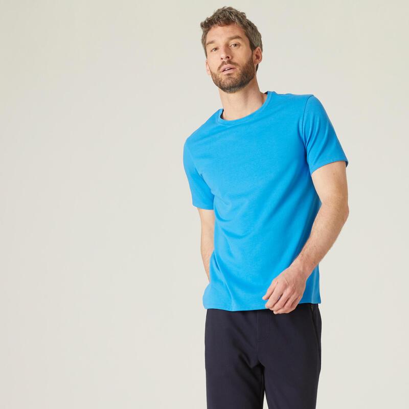 T-shirt fitness manches courtes coton col rond homme bleu méditerranée