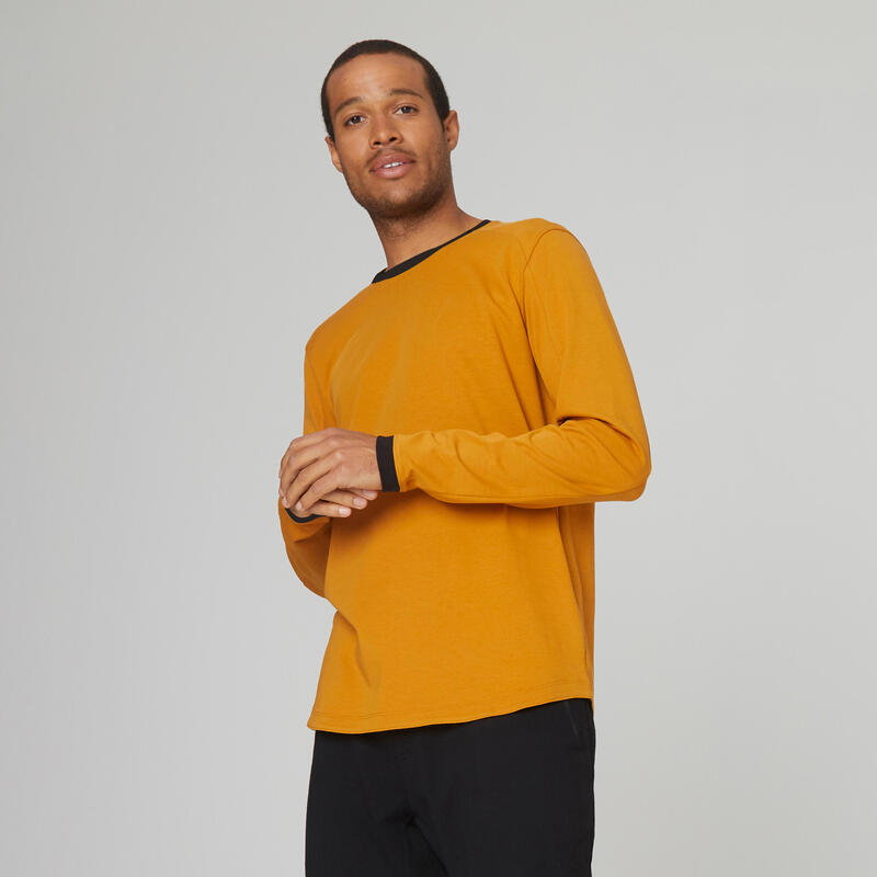 Stretchy Long-Sleeved Cotton T-Shirt - Brown