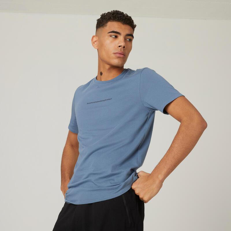 T-shirt fitness manches courtes slim coton col rond homme bleu ardoise