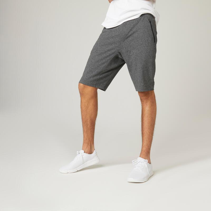 Short Coton Extensible Fitness Long avec poches zippées Slim Gris Foncé