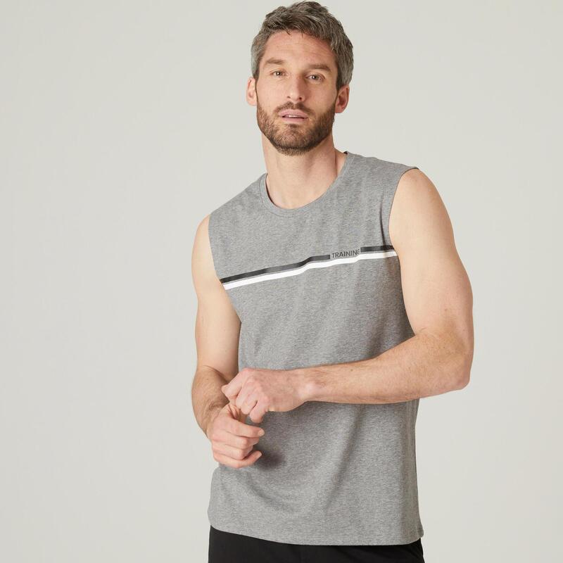 Débardeur Coton Extensible Fitness Gris avec Motif