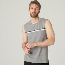 Mouwloos shirt voor pilates en lichte gym heren 500 rekbaar katoen regular grijs