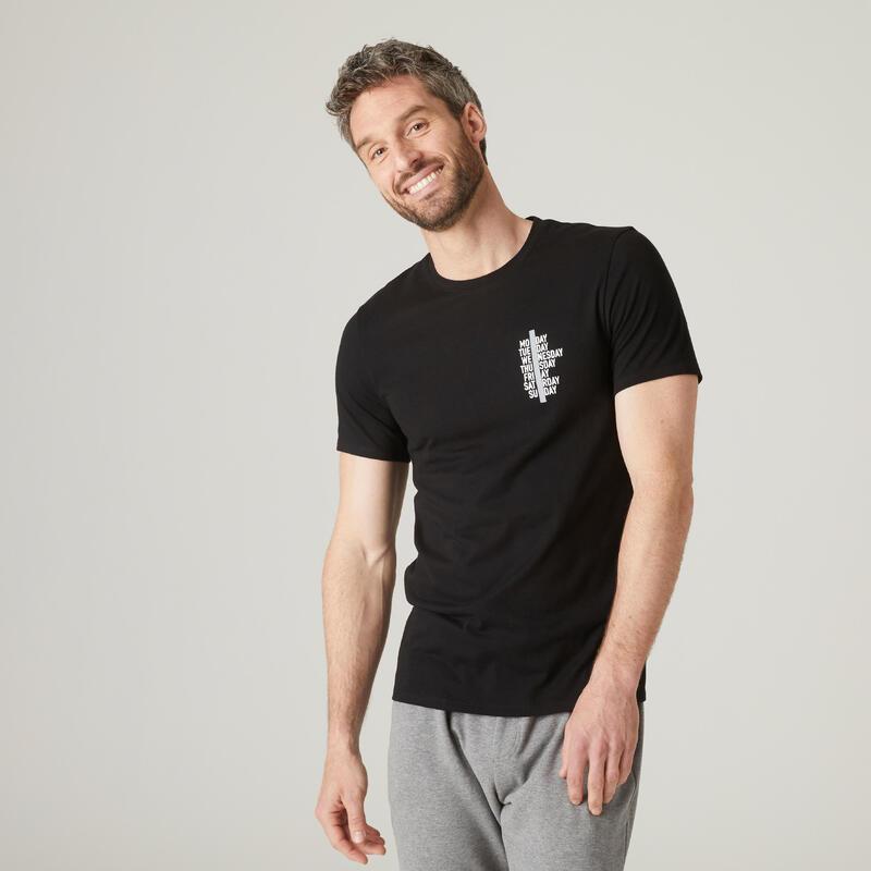 T-shirt fitness manches courtes slim coton extensible col rond homme noir a lo
