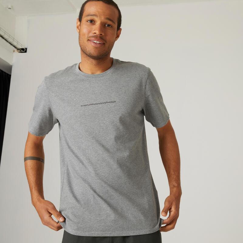 T-shirt voor fitness stretch katoen