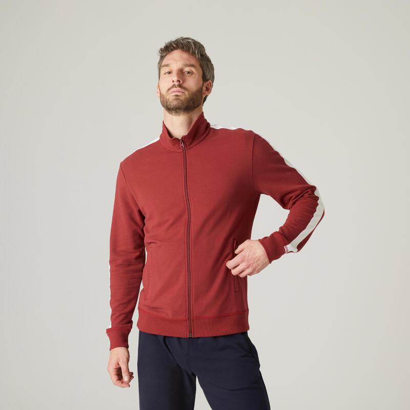 Sweat Zippé Fitness avec bandes sur le côté Rouge